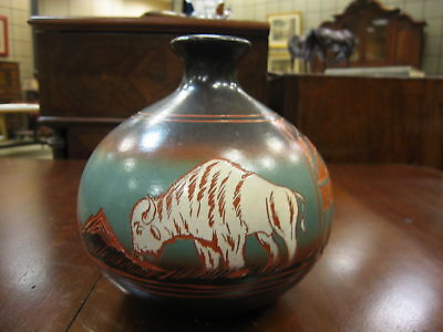 Polychrome Decorated Vase Signed Little Oine 2005 Bison