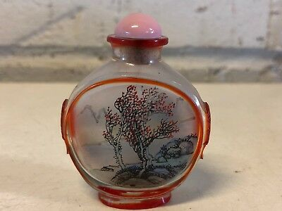 Vintage Chinese Reverse Painted Glass Snuff Bottle w/ Red Lakeside Scene Dec