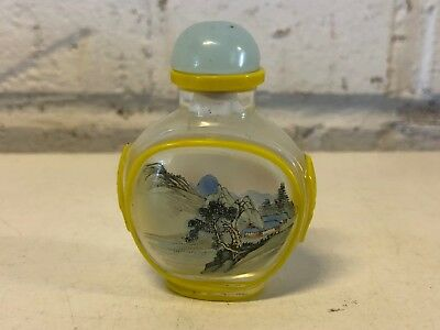 Vintage Chinese Reverse Painted Glass Snuff Bottle w/ Yellow Bird Scene Dec
