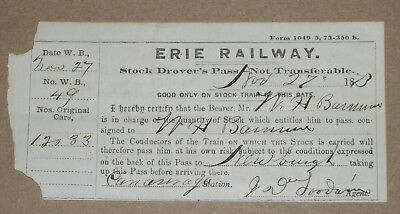***early 1873 Erie Railway Stock Drover's Pass***