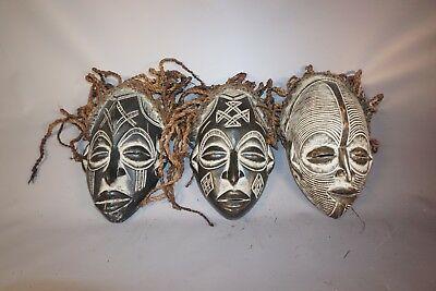Gorgeous Lot of 3 Hand Carved African Chokwe Tribe Masks from Angola