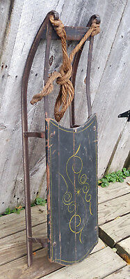 Antique 19th Century Victorian Child Baby Sled w/ Iron Runners, Original Paint