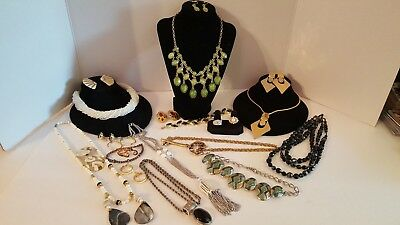 Vintage Lot of 30 + Misc. Costume Jewelry Rings, Earring & chocker sets. NICE!!