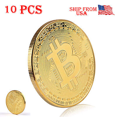10X Bitcoin Coin Gold Plated BTC Limited Edition Collectible Protective Case