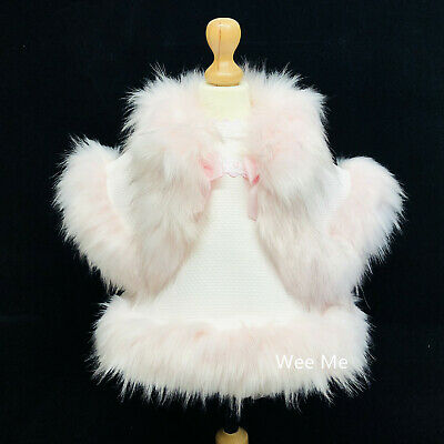 Stunning Wee Me Baby Girl Spanish Fur Dress and Fur Cape Set/ White/Pink