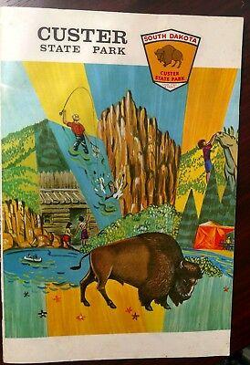 Vintage Black Hills South Dakota Custer State Park Map Pierre Game Fish Parks