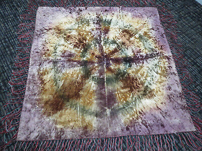 1920s Silk Velvet Table Scarf Pastel Multi Colored With Fringe Ex Vint Cond
