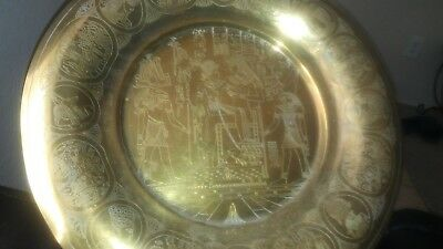 Lg Antique Egyptian Brass Wall Plate Ancient Egypt Osiris Pharaoh.