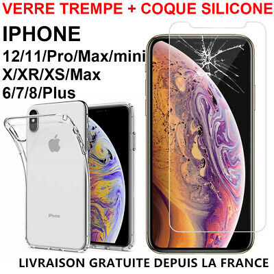 Coque Silicone TPU iPhone XR X XS MAX 8 7 Plus 6 S 5 SE +Film Ecran Verre Trempé