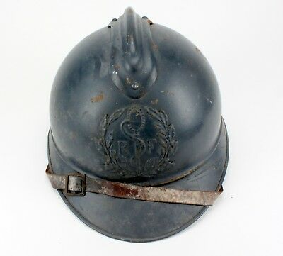 Vintage Wwi French Adrian Military Helmet Rf Snake On Pole Badge Medic