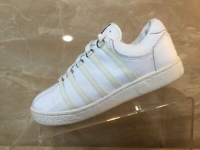 KSWISS K SWISS CLASSIC VARSITY WHITE TENNIS LEATHER GS YOUTH SZ 4-7 Y  80100