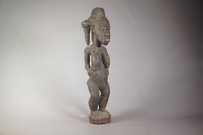 African Art Wood Carving Female Statue from Baule Tribe - Côte d'Ivoire 29""