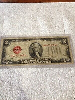 Rare two dollar bill with a 1928 star