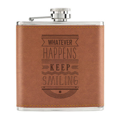 Whatever Happens Keep Smiling Cita 170ml Piel Sintética Pu Petaca Marrón - Happy