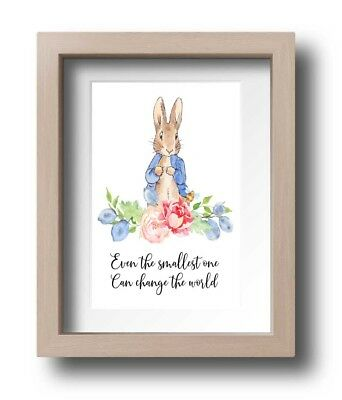 A4 Nursery/Baby/Kids Wall decor print Watercolour Peter Rabbit Flowers Quote