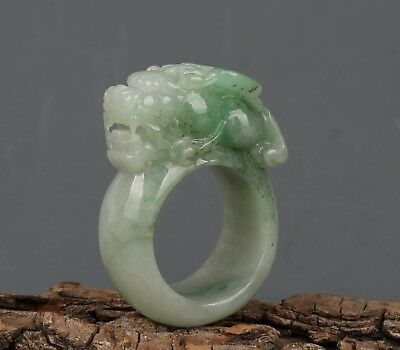 Chinese Exquisite Hand carved Foo Dog carving jadeite jade Ring