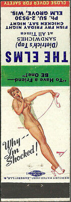 GIRLIE pin-up ~ THE ELMS TAVERN ~ vintage matchbook cover ELM GROVE wisconsin WI