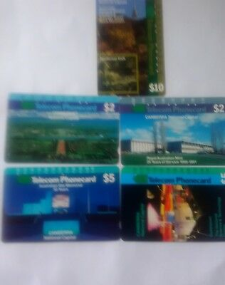 Set X 5 Multi Hole Phonecards Canberra