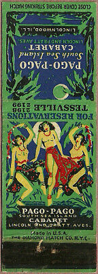topless GIRLIE tropical PAGO-PAGO matchcover LINCOLNWOOD chicago IL illinois