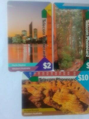 Set X 3 Multi Hole Phonecards Western Australia