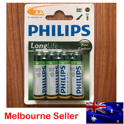 New Philips LongLife R6 Mignon 1.5V Zinc Carbon AA Battery 4 Battery Pack