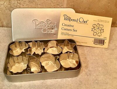 The Pampered Chef Creative Mini Cookie Cutters Set of 8 Metal