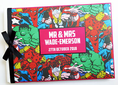 Personalised Marvel Comics Wedding / Birthday Guest Book - Any Design