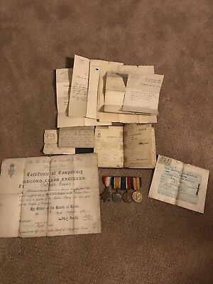 A. Evans WWI British Medals & Paper Group RNR Engineer Victory, Star 14-15
