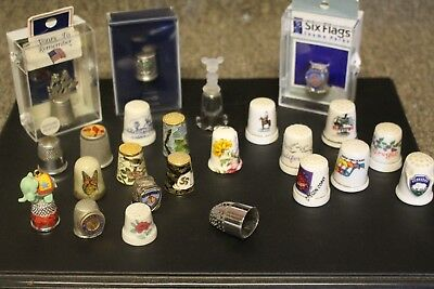 THIMBLES Lot Of 24 Misc / States / Pewter / Painted / Bone / Etc!!!