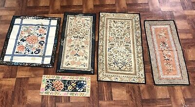 Fine Set Of 5 Antique Chinese Silk Panels & Sleeve Bands NO RESERVE!!