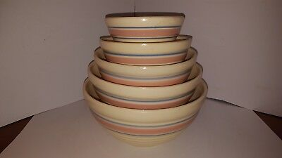 McCoy Pottery USA Set of 5 Nesting Mixing Ribbed Beehive Bowls Pink Blue Stripe