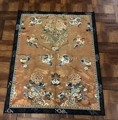 Outstanding Antique Chinese Silk Panel With Peking Flowers NO RESERVE!!