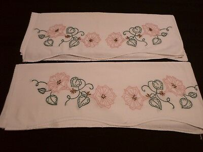 "Pair of Vintage Hand Embroidered PINK FLORAL Cotton Pillowcases ~ 19"" x 28"""
