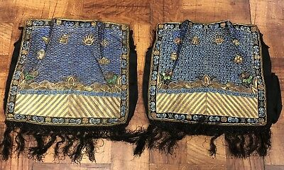 Gorgeous Pair Of Antique Chinese Silk Rank Badges Metallic Weave NO RESERVE !!