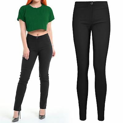 Women Ladies Skinny School Trousers Uniform Office Work Day Stretchy Girls Pants