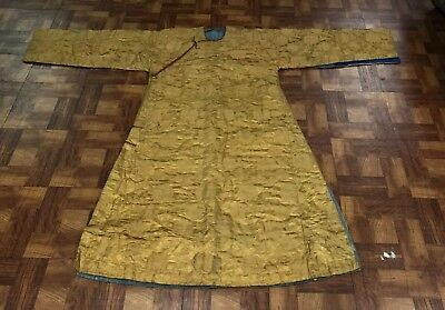 Unusual Very Large Antique Chinese Silk Winter Robe Yellow Color NO RESERVE!!