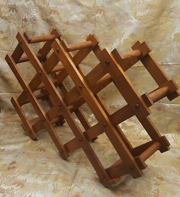Vintage Mid Century Folding Accordion Solid Teak Wood Wine Rack Goodwood