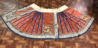 Outstanding Antique Chinese Red Silk Skirt With Flowers Embroidered NO RESERVE!!