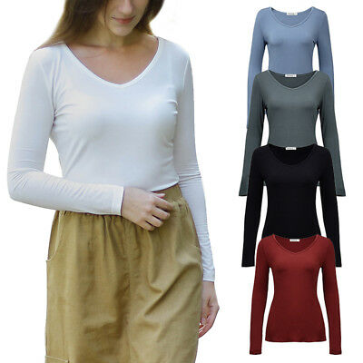 Women's Basic V-Neck T Shirt Plain Solid Color Layering Long Sleeve Stretch Tops