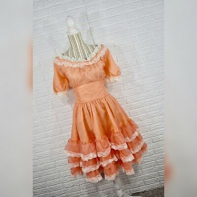 Vintage C Orange White Lace Western Hoedown Barn Dance Dress Size Large