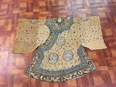 Very Rare Antique Chinese Silk Brown Embroidered Robe with Roundels NO RESERVE!