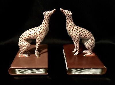 "HEREND ""Greyhound Pair of Bookends Rust Fishnet"" (05244) VERY LARGE & RARE~"