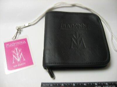 Madonna DROWNED VIP Laminate Pass 2001 WORLD TOUR LEATHER CD CASE Roots Zippered