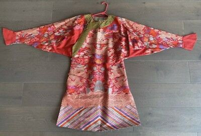 Outstanding Antique Chinese Red Silk Dragon Robe Qing NO RESERVE !!