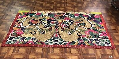 Huge Antique Chinese Silk Panel With Double Dragons Qing Period NO RESERVE !!!