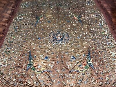 Very Large Antique Chinese Silk Panel With Dragons & Phoenixes NO RESERVE!!