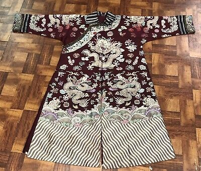 Very Fine Antique Chinese Silk Purple Dragon Robe Qing Period NO RESERVE!!!