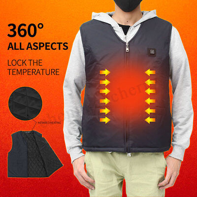 58℃ / 53℃ / 45℃ Electric Heated Vest Winter Warm Up Hot Jacket Unisex 6 Sizes