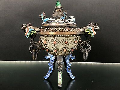 Very Fine Antique Chinese Sterling Silver Censer With Dragons NO RESERVE!!