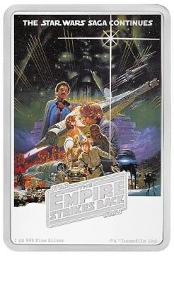 Star Wars, The Empire Strikes Back 1 oz .999 Poster Silver Proof Coin, 2017 Niue